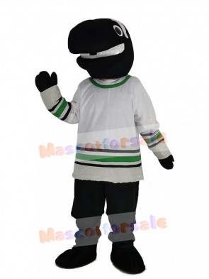 Whale Player in White T-shirt Mascot Costume
