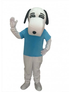 White Snoopy Dog Mascot Costume with Black Ears in Blue Shirt