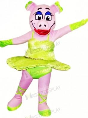 Dancing Pig with Green Skirt Mascot Costumes Animal