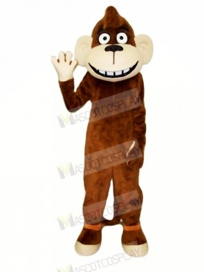 Happy Brown Monkey Mascot Costumes Cartoon