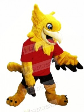 Yellow Gryphon with Red T-shirt Mascot Costumes