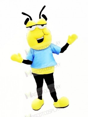 Lazy Bee with Blue T-shirt Mascot Costumes Cartoon