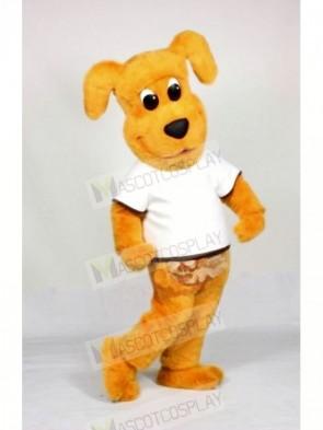Yellow Dog with White T-shirt Mascot Costumes Animal