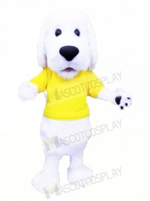Cute White Dog with Yellow T-shirt Mascot Costumes Animal
