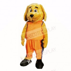 Sporty Dog with Orange Shirt Mascot Costumes Cartoon