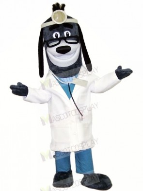 Doctor Hound Dog with Glasses Mascot Costumes Animal