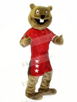 Brown Beaver with Red Suit Mascot Costumes Cheap