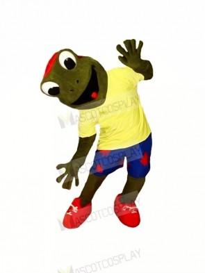 Happy Frog with Yellow T-shirt Mascot Costumes Cartoon