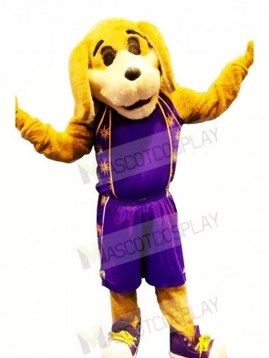 Sport Dog with Purple Suit Mascot Costumes Animal