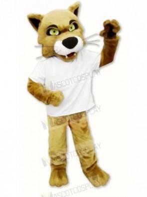 Brown Wildcat with T-shirt Mascot Costume Cartoon