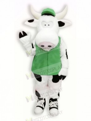 Cute Cow with Green Vest Mascot Costumes Cartoon