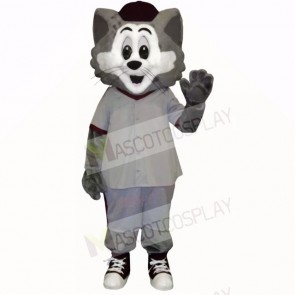 Grey and White Cat with Big Eyes Mascot Costumes Cartoon