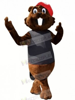 Brown Beaver with Red Hat Mascot Costumes Cartoon