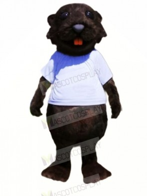 Sporty Beaver Black Mascot Costumes Cartoon