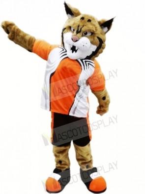Bobcat with Orange Suit Mascot Costumes Animal