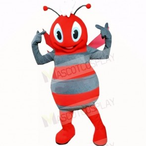 Smiling Grey and Red Bee Mascot Costumes Cartoon