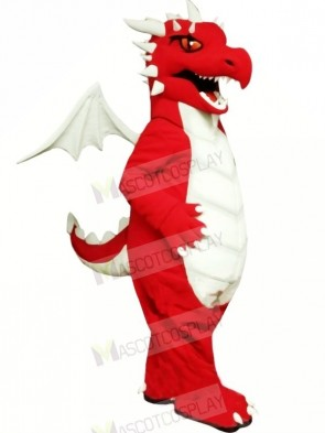 Red Dragon with White Wings Mascot Costumes Cartoon