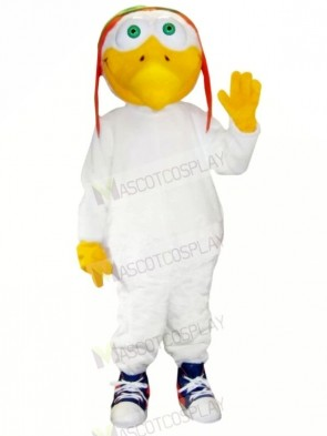Pilots Seagull with White Suit Mascot Costumes Cartoon