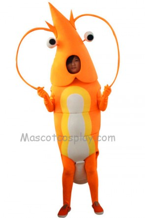 Orange Shrimp Mascot Character Costume Fancy Dress Outfit