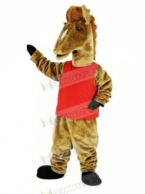 Brown Mustang with Red Vest Mascot Costume Animal