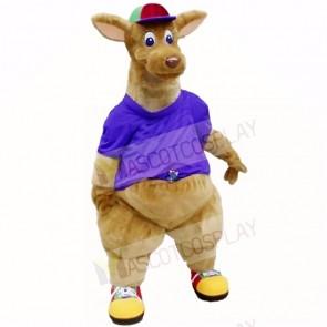Top Quality Kangaroo With Purple Shirt Mascot Costumes Adult