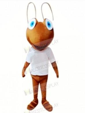Happy Ant with White T-shirt Mascot Costumes Cartoon