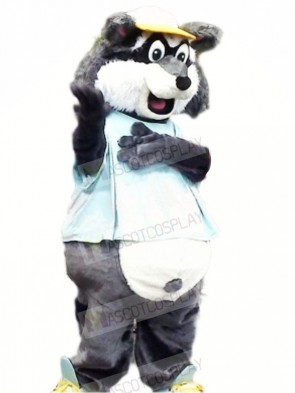Grey Raccoon with Yellow Hat Mascot Costumes