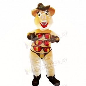 Stripper Pig with Brown Hat Mascot Costumes Cartoon