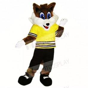 Sport Fox with Yellow Shirt Mascot Costumes School