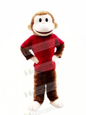 Happy Monkey with Red T-shirt Mascot Costumes Cheap
