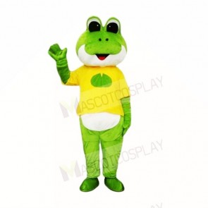 Green Frog with Yellow Shirt Mascot Costumes School