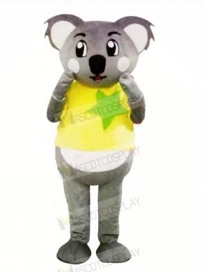 Grey Koala with Yellow T-shirt Mascot Costumes Cartoon