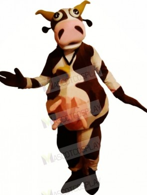 Funny Brown and White Cow Mascot Costumes Adult