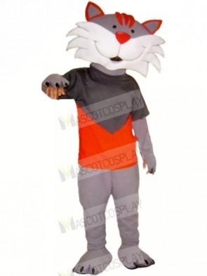 Happy Grey Cat Mascot Costumes Cartoon