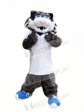 Grey Wildcat with Blue Shoes Mascot Costumes Animal