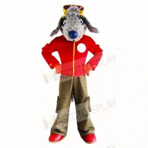 Grey Bedlington Dog with Red Shirt Mascot Costumes School