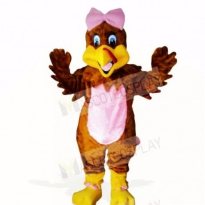Girl Turkey with Pink BOW Mascot Costumes School