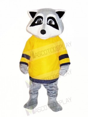 Cute Raccoon with Yellow T-shirt Mascot Costumes Animal